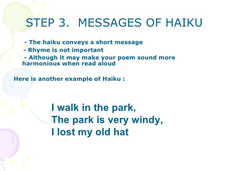 Haiku poem examples 5 7 5 syllables.