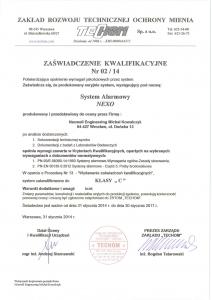 nexwell Certyfikat zabezpieczeń Klasa C